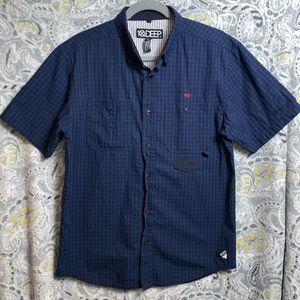 10.DEEP Juniors Square Print ButtonDown Large blue